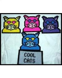 Everything Plastic Canvas Cool Cats Coaster Set
