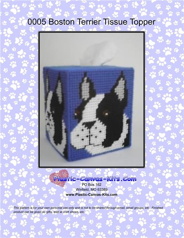 Plastic Canvas French Bulldog Tissue Box Cover