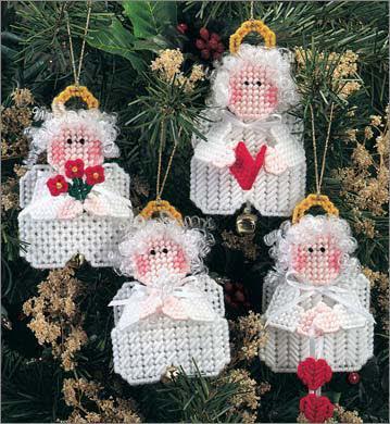 Plastic Canvas Christmas Ornaments.Mini Angel Ornaments