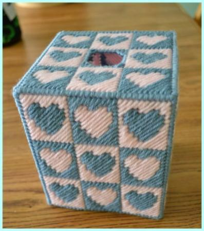 Everything Plastic Canvas Quilt Block Hearts Tissue Box