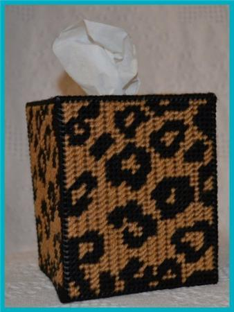 Everything Plastic Canvas Leopard Print Tissue Box Cover