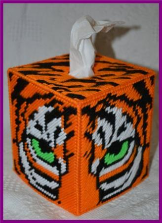 Everything Plastic Canvas Tiger Face Tissue Box Cover